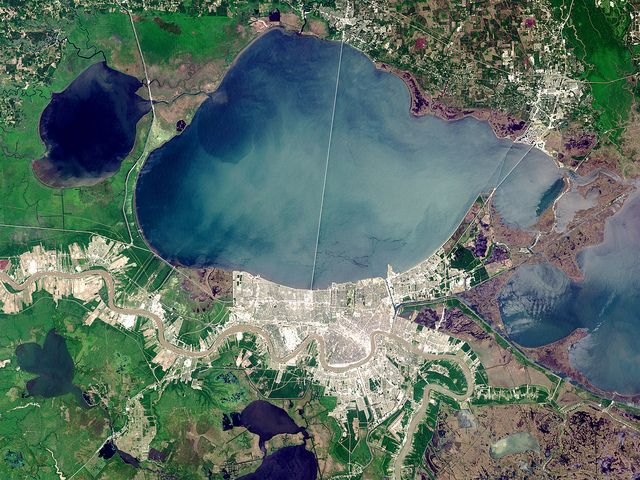 Lake Pontchartrain with New Orleans to the south and the place we stayed at was nice but was flooded out from Katrina few years earlier and it stunk!  Flooded stinch never goes away and their had to be a mold problem.  2nd story we were on was flooded.  Yikes!