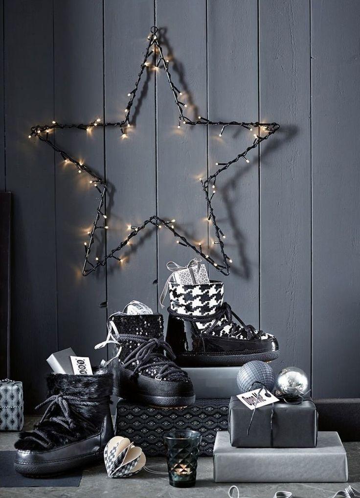 Leuchtender Stern, mit einer LED-Lichterkette umwickelter Stern, Weihnachtsdekoration.