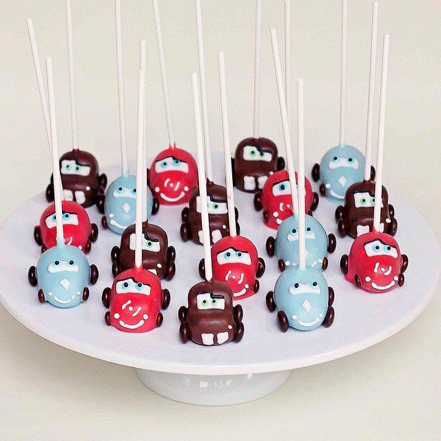 Pin for Later: Drool Over Your Favorite Disney Characters With These 33 Cake Pop Designs Lightning McQueen, Mater, and Sally Any Cars-lover will race to grab one of these delicious treats.