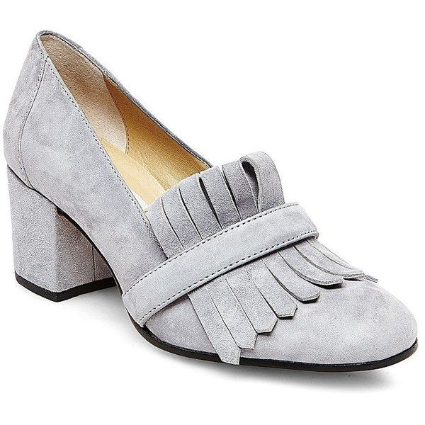 Steve Madden Kate Suede Loafer Heels ($80) ❤ liked on Polyvore featuring shoes, loafers, heels, grey, grey shoes, grey suede shoes, slip-on shoes, grey loafers and grey heeled shoes