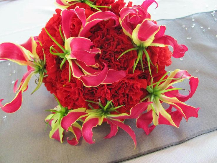 Red Carnations + Hot Pink/Chartreuse Gloriosa Lilies Wedding Bouquet