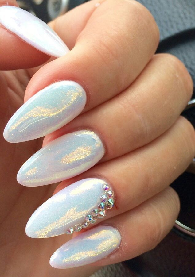 Nails with diamonds and glitter