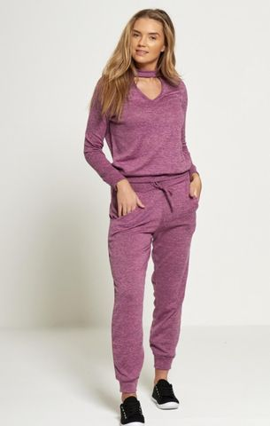 Choker Neck Knitted Tracksuit