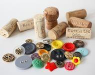 stempels knutselen van oude kurken en knopen, origineel cadeau