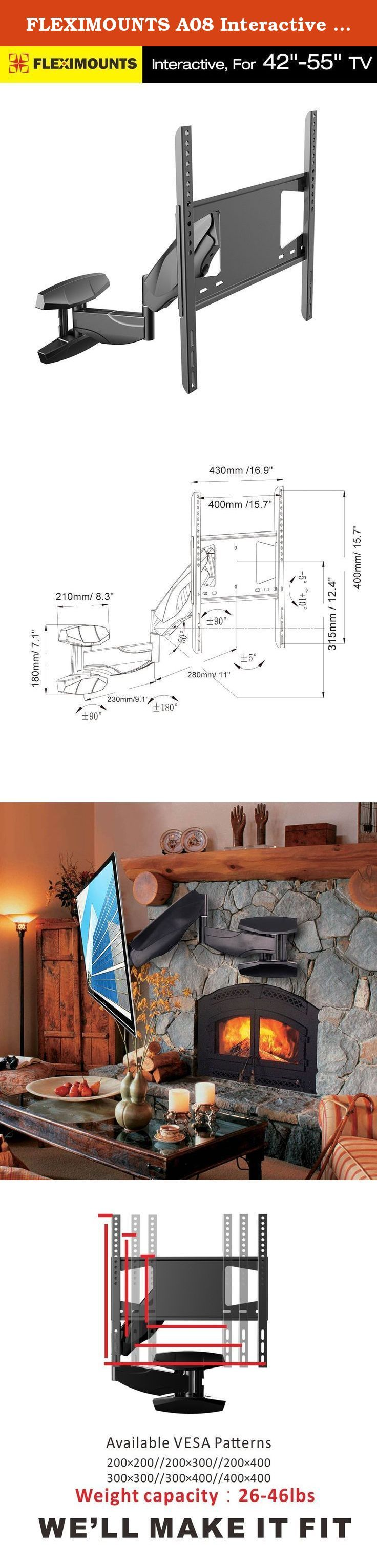 """FLEXIMOUNTS A08 Interactive Full Motion TV Wall Mount fits for most of 42""""-55"""" Samsung/Coby/LG/TCL/Haier/Hisense/VIZIO/Sharp/Sony/Toshiba/Seiki LCD LED Tvs. Features: 1. Free Gas Springs Hovering System: adjustable in vertical direction 2. Full rotation:360 degrees at any position 3. Angle Free Tilt Function: Self-locking mechanical construction provides effortless adjustment of viewing angle without tightening the knob. 4. Extended aluminum arm: offers wide-angle optimum viewing position…"""