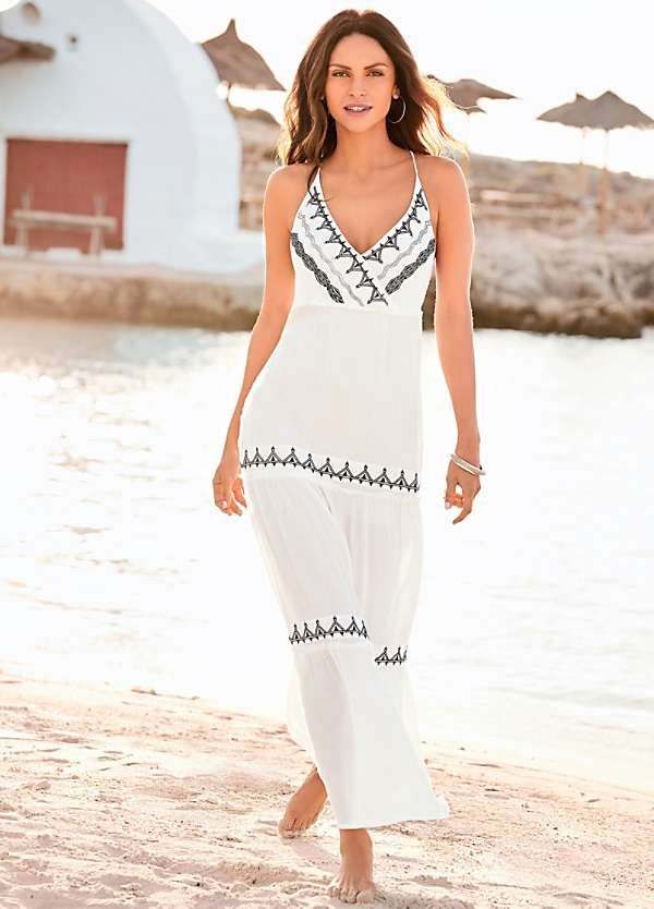 7c5dd1d37c White Crepe Embroidered Tiered Maxi Dress by Kaleidoscope
