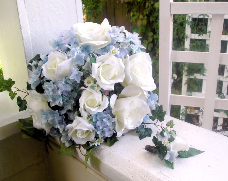 Bridal bouquet = blue Hydrangea and white roses. Description from pinterest.com. I searched for this on bing.com/images