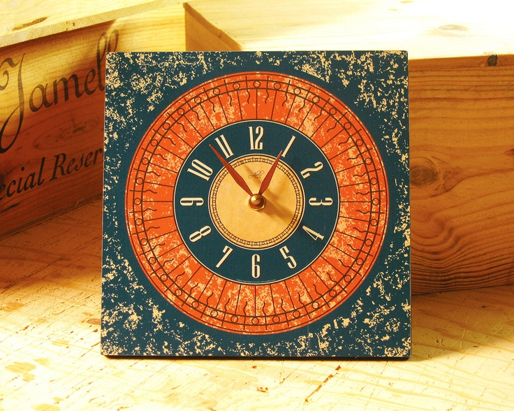 Tuscan Sunshine 8in Square Wall Clock In Burnt Orange Teal Kitchen Decor Office Clock Rustic Clock Tuscan Decor Ready To Ship