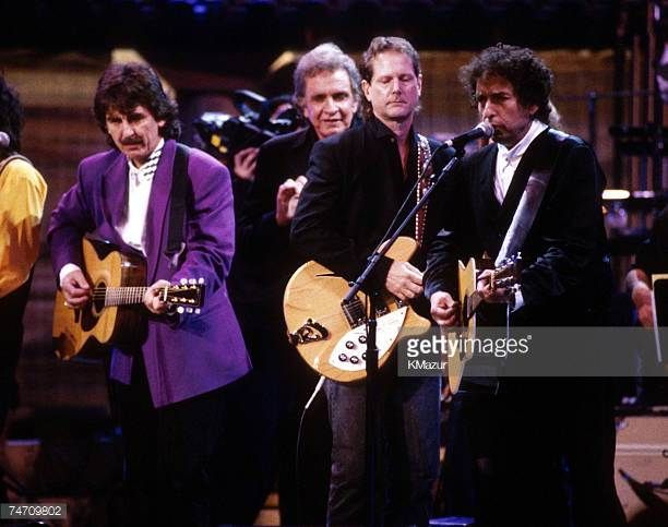 George Harrison Johnny Cash Roger McGuinn and Bob Dylan during Bob Dylan File Photos at the New York in New York New York