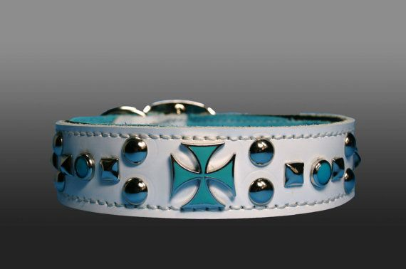 Dog Collar Blue Leather