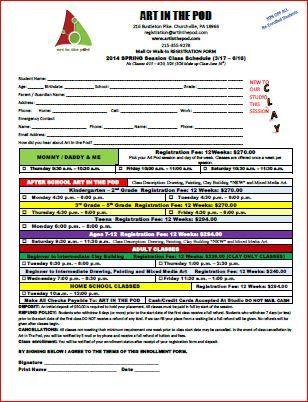 Spring 2014 Registration Form | Sample Registration Form