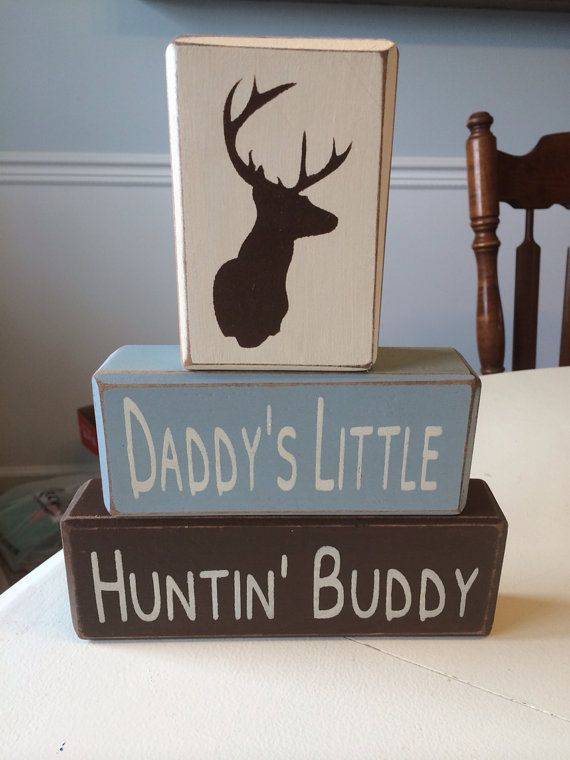Primitive wood sign blocks daddy's little hunting buddy Father's Day gift dads birthday nursery baby shower deer head antlers camo on Etsy, $26.95