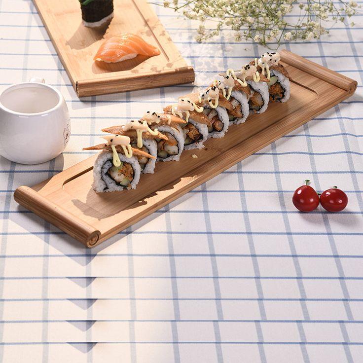 Japan Style Creative Bamboo Sushi Plate Shiraki Platter Sashimi Serving Trays Traditional Cooking Utensils Tableware