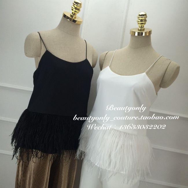 «beautyonly» винтаж минималистский дизайн смысле подол страусиных перьев ленты шифона рубашку блузку