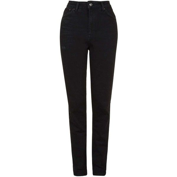Topshop Moto Black Mom Jeans (€44) ❤ liked on Polyvore featuring jeans, black, distressed skinny jeans, cuffed skinny jeans, cuffed jeans, high waisted ripped jeans and high rise skinny jeans