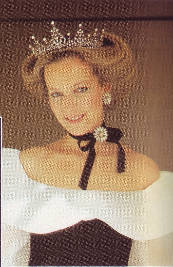 """The Baroness Marie Christine von Reibnitz (b. 1945). She is the daughter of The Baron Günther von Reibnitz and his wife, The Countess Maria Szapáry von Muraszombath, Széchysziget und Szapár. She was the wife (1971-1977) of Thomas Troubridge; """"Princess Michael of Kent"""" (from 1978) as the wife of The Prince Michael of Kent. Her children are Lord Frederick Windsor and Lady Gabriella Windsor."""