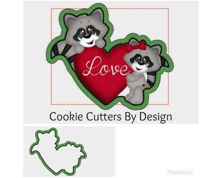Valentine's Cookie Cutter / Raccoon Cookie Cutter / Heart Cookie Cutter / 3D Printed Cookie Cutters / Cookie Cutters by CookieCuttersByDsgn on Etsy