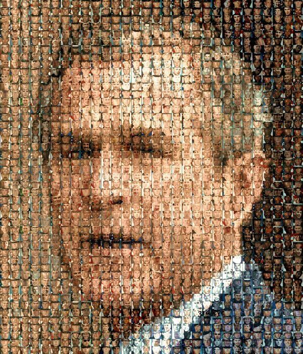 This is remarkable work of art This picture is made from faces of 670 soldiers who died in the Iraq War. 670 soldiers lost their lives because George W. Bush lied.