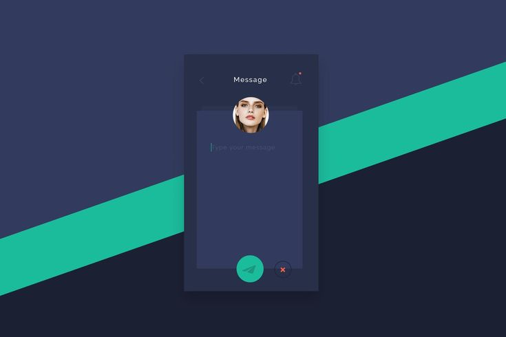 Flat Post Message App Screen PSD