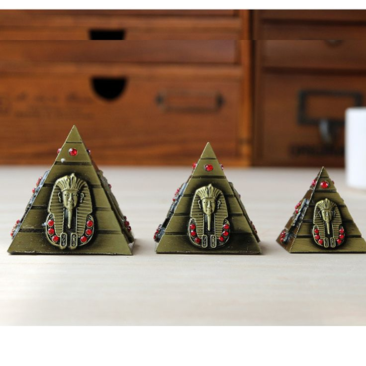 3pcsset egyptian pyramid model metal craft furnishing articles table miniaturas desk ornaments vintage home - Home Decor Articles