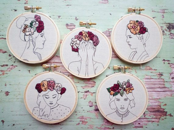 Phaedra is boho beautiful! She has a hand stitched floral crown over printed outlines. She looks lovely with her other floral crown friends