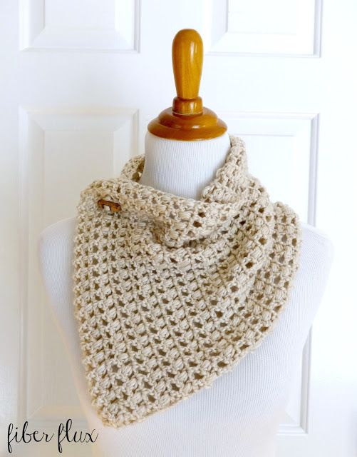 French Vanilla Button Cowl, free crochet pattern from Fiber Flux
