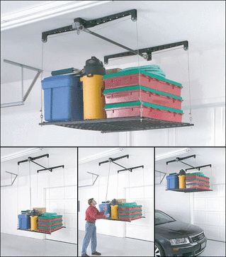 The Racor HeavyLift overhead retractable storage is ceiling-mounted garage stock rack; pulley system raises and lowers for easy access.