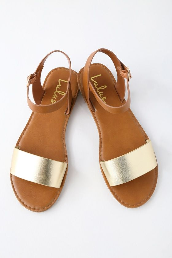 72caef18e705f8 Get back to basics in the Insta-worthy Lulus Hearts and Hashtags Gold Flat  Sandals! You can wear these vegan leather sandals anywhere