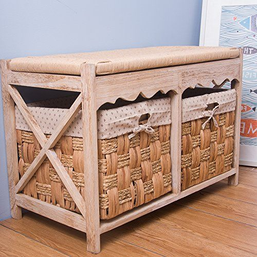life carver stylish wood hallway furniture basket storage blanket toy box bench with 2 see grass chest of drawers rope plait cushion seat