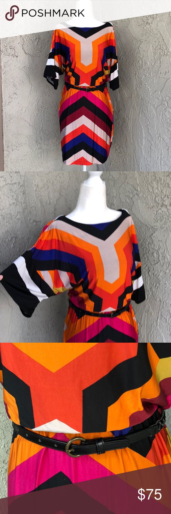 Trina Turk Geometric Print Belted Dolphin Dress 4 This vibrant geometric print d…