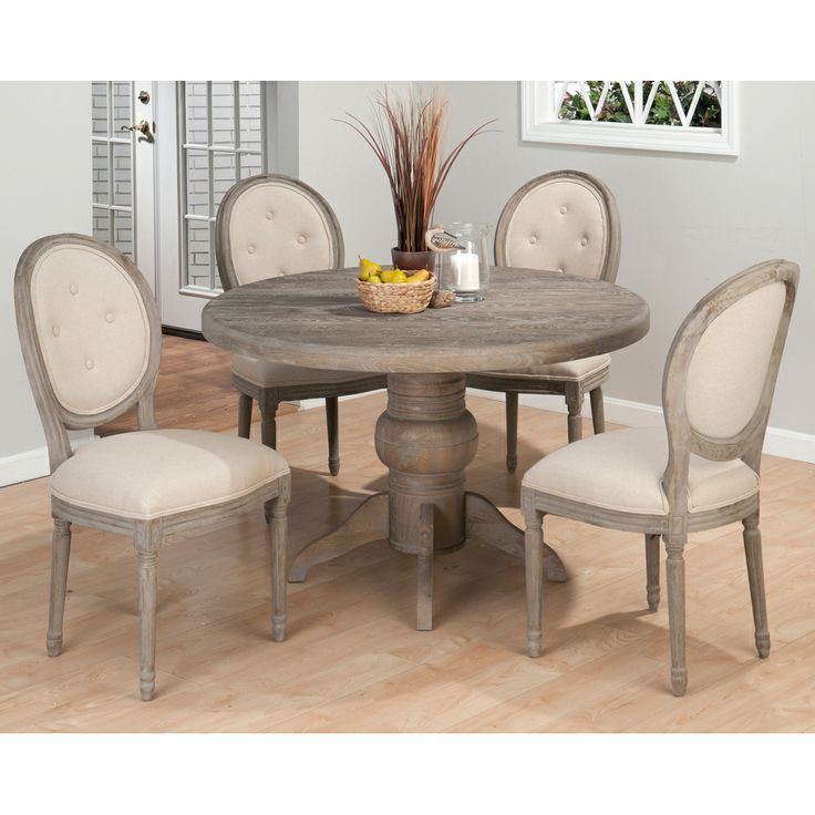 Neo Renaissance Traditional Formal Dining Upholstered Side: Renaissance Round Table & Oval Back Chairs Jofran 856-48