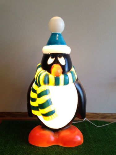 New 28 Tall Penguin Blow Mold Christmas Lighted W Blue