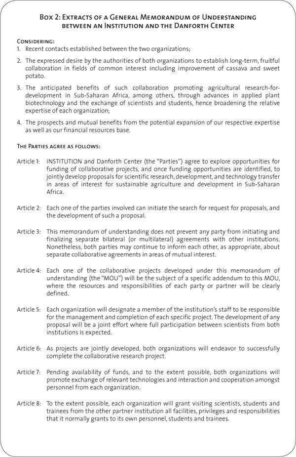 Box 2: extracts of a general Memorandum of understanding between an ...