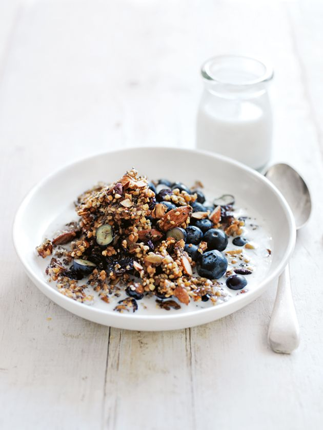 Granola with soaked buckwheat and pumpkin seeds, with ginger, maple syrup, almonds, and cranberries