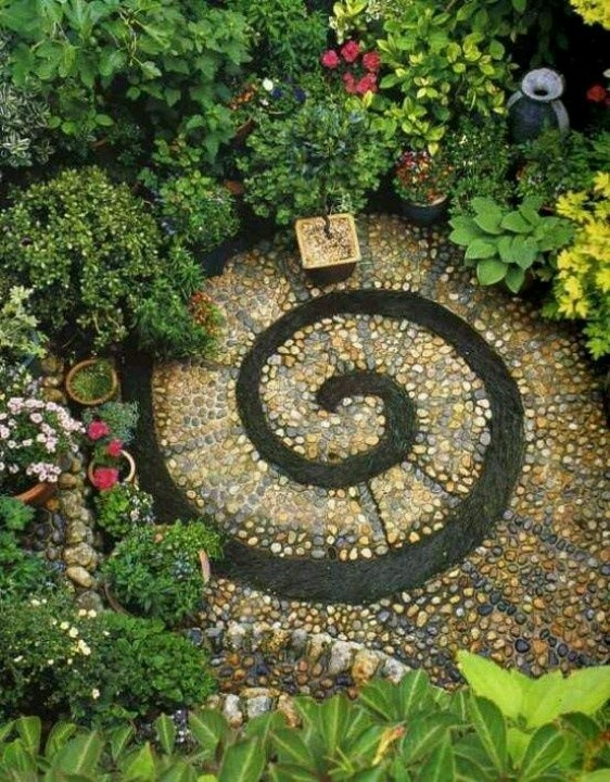 Eclectic Landscape/Yard With Mosaic Patio, DIY Spiral Rock Pebble Mosaic  Path, Exterior Stone Floors, Gold Standard Hosta