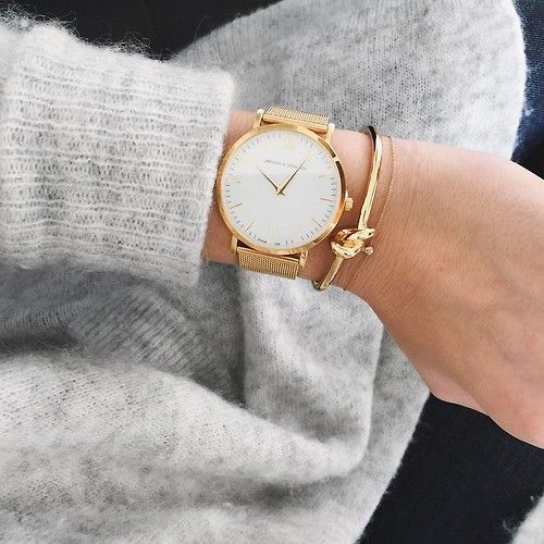 oversized watch, gold knot bracelet