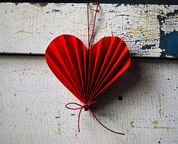 Valentine Heart, Paper Anniversary Wedding Gift,  Red Paper Ornament via Etsy