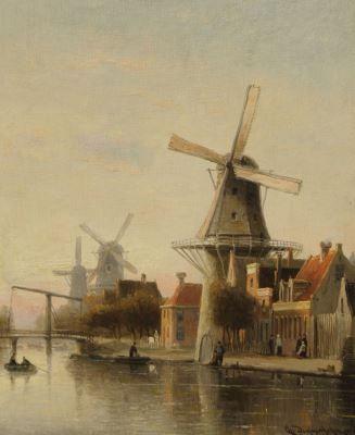 Cornelis Christiaan Dommelshuizen (Utrecht 1842-1928 Den Haag) A Dutch town view…