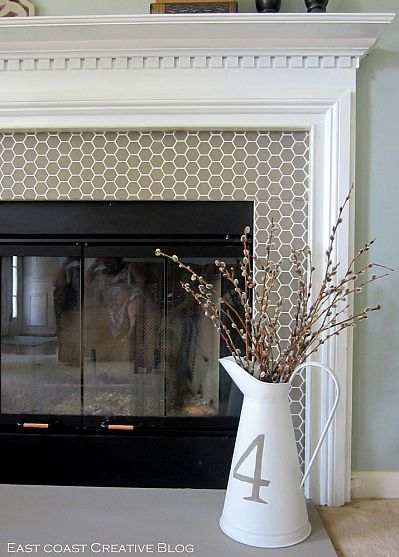Stenciled Faux-Tile Fireplace Makeover!