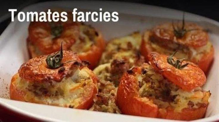 Tomates farcies au riz, pignons, raisins secs et feta (facile, rapide) - Une recette CuisineAZ
