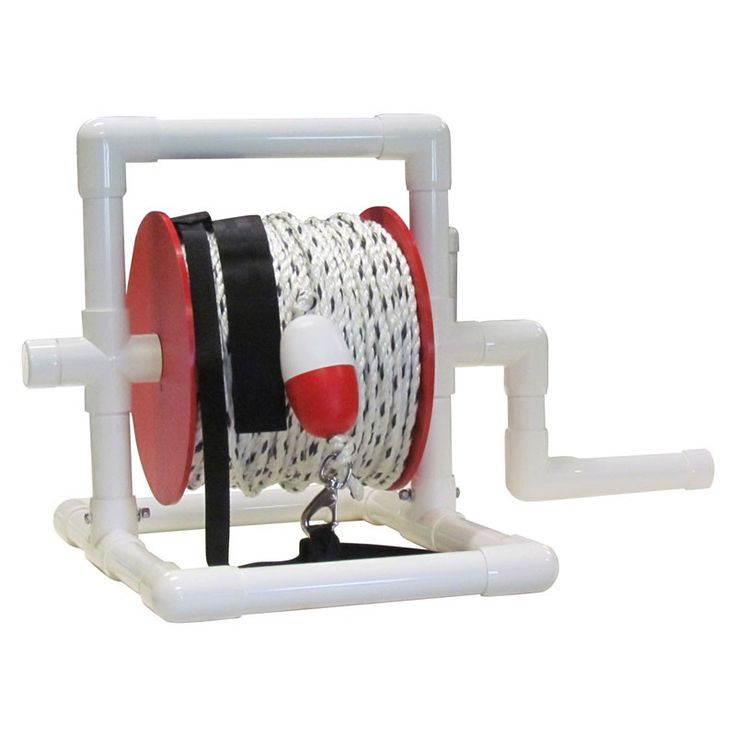 Our rescue reel features lightweight, maintenance-free PVC pipe, 600 feet of safety rope, stainless steel snap, strap and float. Designed to be a life line for a lifeguard on a beach rescue. Visit www.poolweb.com for more great items! #madeintheusa