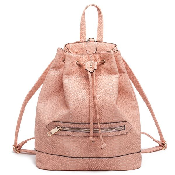 Peach-coloured backpack with snakeskin touch.