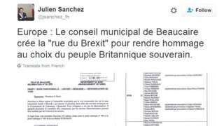 National Front mayor creates 'Rue du Brexit' in French town