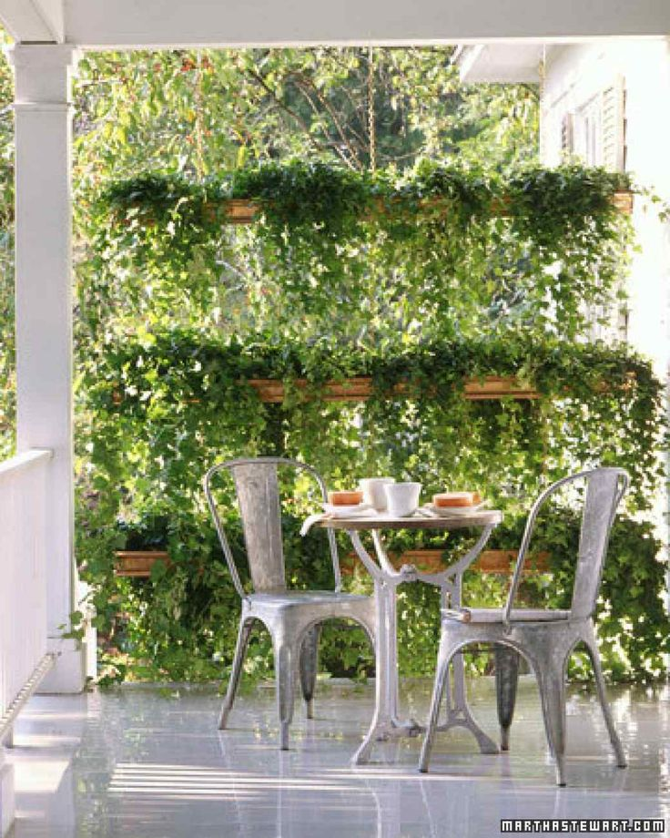 Privacy Ivy! This lush three-tier garden screen consists of pairs of copper K-style gutters, which have flat backs, hanging from lengths of chain. We planted the gutters with ivy, and hung the screen on a sheltered porch.
