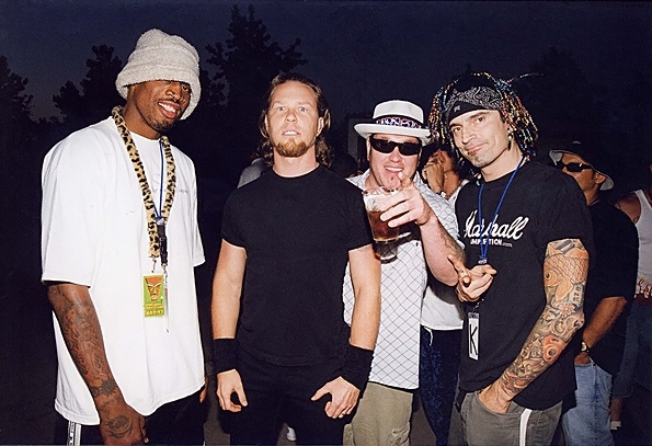 Dennis Rodman, James Hetfield, Steve Harwell of Smash Mouth and Tommy Lee of Motley Crue at the KROQ Weenie Roast in Los Angeles on September 9th, 1999.
