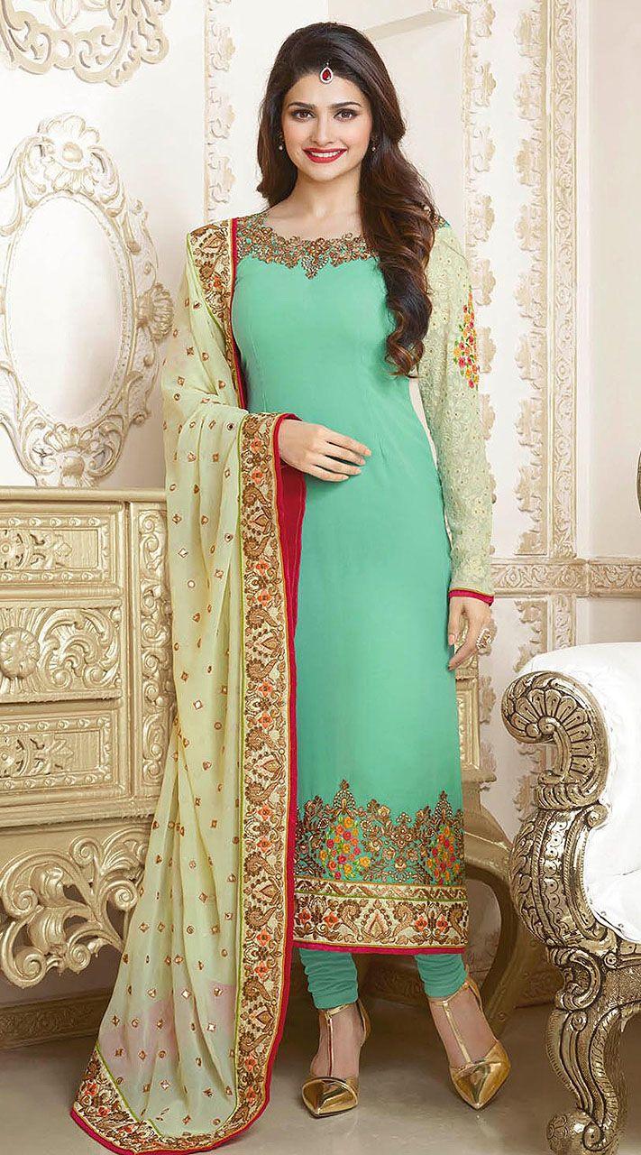 Prachi Desai Turquoise Embroidered Bollywood Salwar Kameez