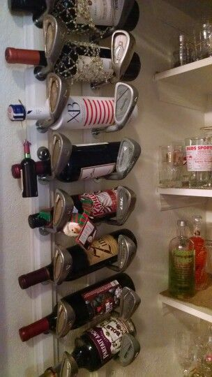 Wine rack from golf clubs
