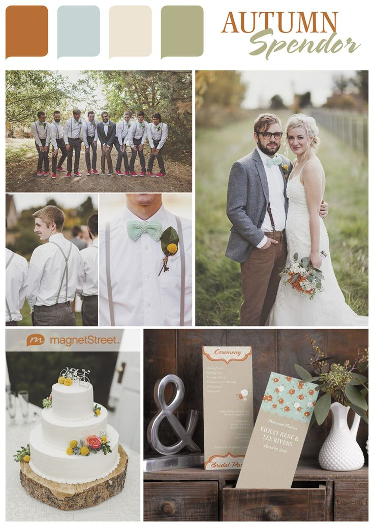 Trouwen in de herst #herfst #autum #fall Autumn Splendor - autumn wedding color ideas. I'm loving this rustic, earthy palette for a fall wedding.