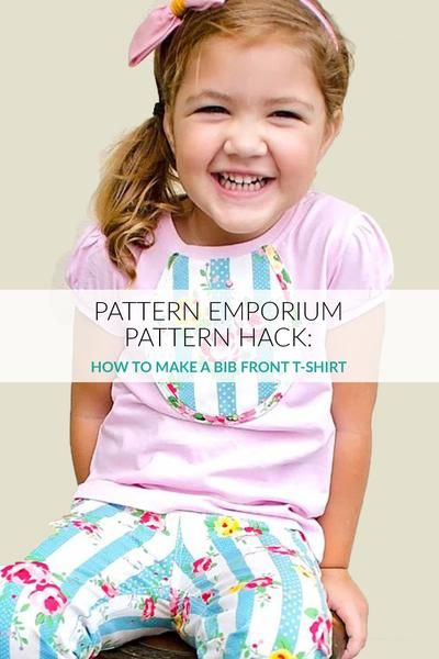 Add an adorable bib front to brighten up a t-shirt using the Bella Bodice pattern by Pattern Emporium