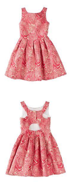 Sleeveless Metallic Rose Jacquard Back Cutout Pleated Dress ==
